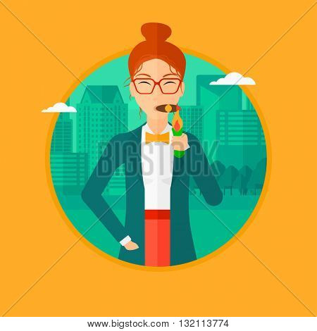 Rich business woman lighting a cigar with dollar bill. A successful business woman smoking cigar on the background of modern city. Vector flat design illustration in the circle isolated on background.