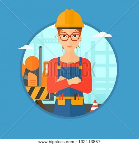 Builder with arms crossed. Confident builder on a background of construction site. Builder in helmet on background of road works. Vector flat design illustration in the circle isolated on background.