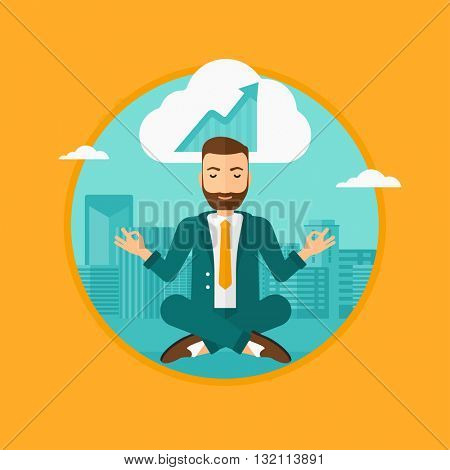 Peaceful hipster businessman with eyes closed doing yoga and meditating in lotus pose outdoors and thinking about the growth graph.Vector flat design illustration in the circle isolated on background.