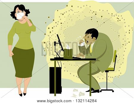 Going to work with a cold or flu. A woman afraid to be infected by a sick man at the desk spreading infection