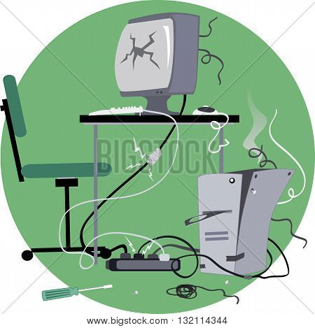 Old-fashioned desktop computer broken and many times fixed, with cracked screen, duct-taped wires, on a circular background