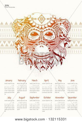 Calendar for 2016 with a fiery monkey. Red Monkey calendar grid on a light background