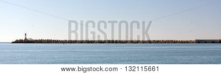 Tetrapods - massive concrete structures with four interlocking legs to protect the beaches from waves. Sochi. Russia