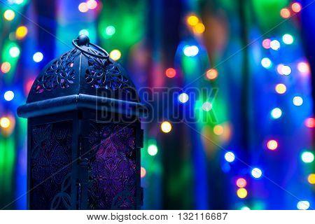 Arabic lantern on colorful light background. Ramadan, Eid concept background