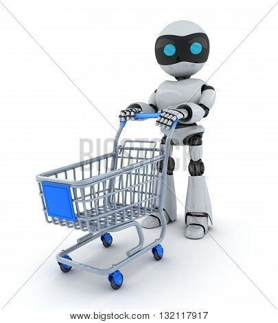 Robot and cart on white background (done in 3d rendering)