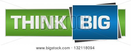 Think big text written over green blue horizontal background.