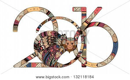 Tribal illustration of a monkey in the style zentangl for the new year 2016. illustration of Totem for the holidays. Printing Maite card poster