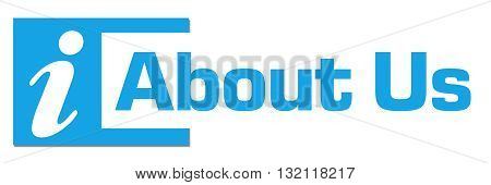 About us text written over blue horizontal background.