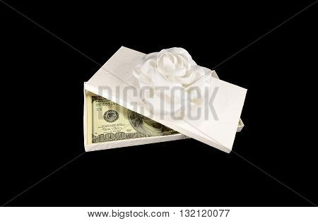 Money Dollars In The Gift Box