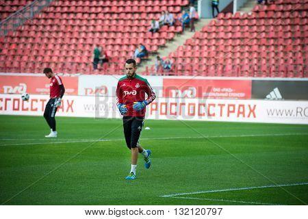 MOSCOW - MAY 11 2016: Goalkeeper Guilherme Alvim Marinato before soccer game Russian Premier League Lokomotiv (Moscow) vs Kuban (Krasnodar) the stadium Lokomotiv Moscow Russia. Lokomotiv lost 0: 1