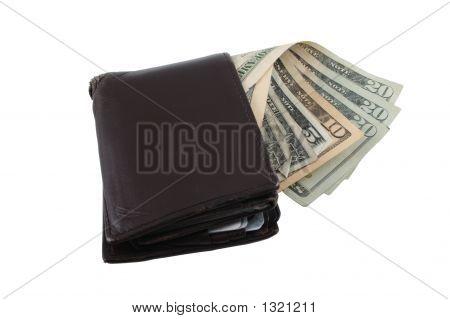 Worn Wallet And Bills