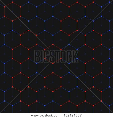 Abstract connections background of many hexagons with circles on vertexes. Dots connected with lines. Chemistry abstract background.