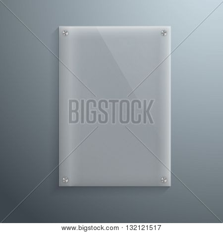 Illustration of Realistic Vector Glass Plate Template Icon. EPS10 Vertical Vector Plastic Frame
