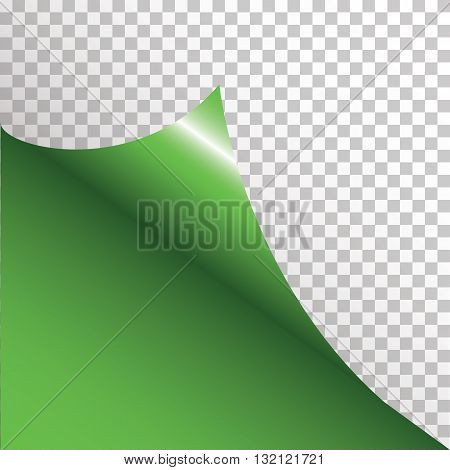 Green sticker with curled corner. Vector illustration