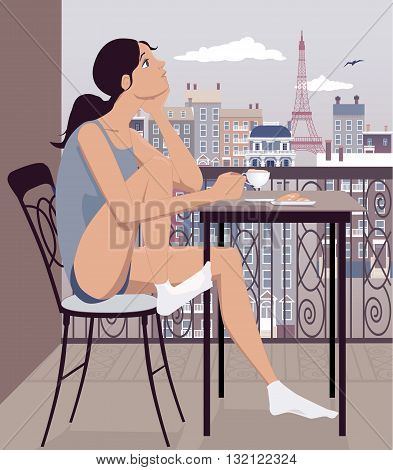 Young woman having coffee on the balcony with a view to Paris, France, vector illustration, no transparencies