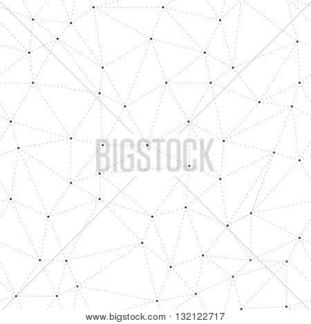 Connections background triangles with dots on vertexes dots connected with dashed lines