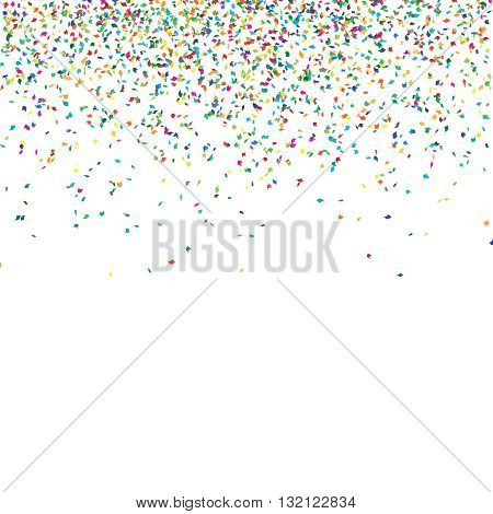 Abstract background with falling confetti different colored curved confetti pieces