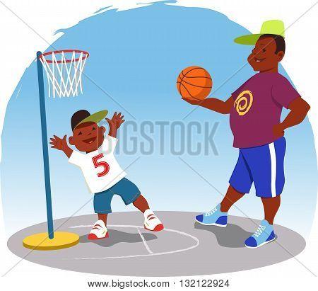 Black man plays basketball with a little boy in the backyard, vector cartoon