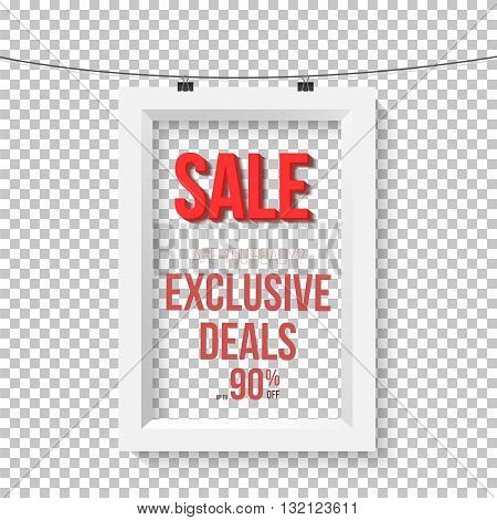Illustration of Big Sale Poster Vector Wall Frame Mockup. Realistic Vector EPS10 Paper Sale Poster Isolated on Transparent PS Style Background
