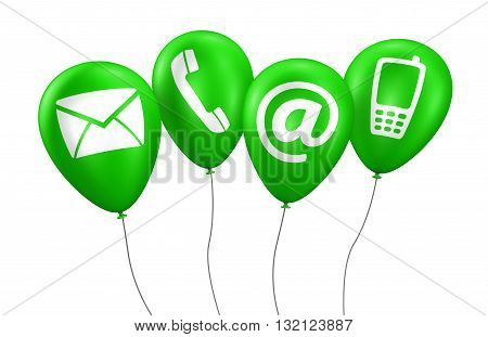 Website and Internet contact us concept with icons and symbol on green balloons 3D illustration isolated on white background.