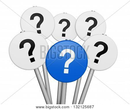 Business and customers questions concept with question mark symbol and icon on road sign 3D illustration isolated on white background.