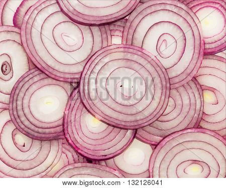 Sliced red onion. Background close up red onion