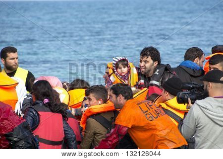 Refugees Arriving In Greece In Dinghy Boat From Turkey.