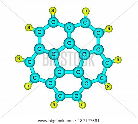 Corannulene is a polycyclic aromatic hydrocarbon with chemical formula C20H10. The molecule consists of a cyclopentane ring fused with 5 benzene rings so another name for it is 5-circulene. 3d illustration