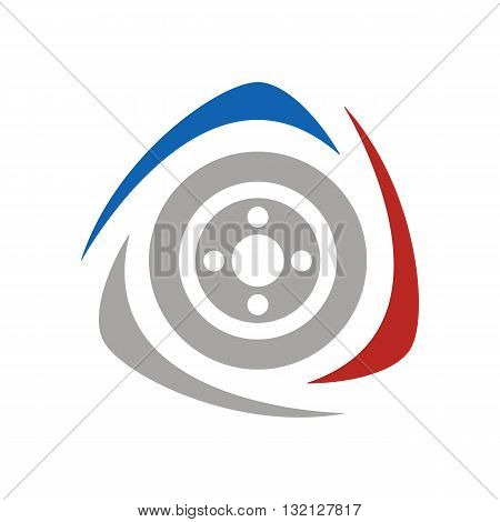 Abstract wheel racing logo vector illustration isolated on white background.