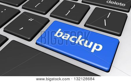 Computer data backup concept with backup sign and text on a computer keyboard button 3d illustration.