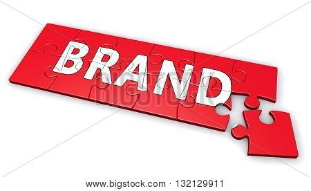 Brand corporate business development and branding concept with brand word on a red puzzle 3D illustration isolated on white background.