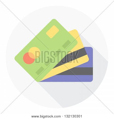 Business Credit Cards Stack Flat Style Icon