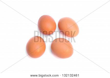 four eggs. Isolated on white background select focus eggs ( You can paint on there's egg )