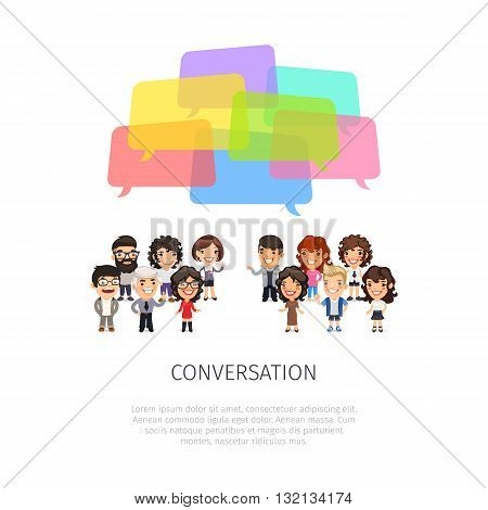 Conversation poster with group of casually dressed flat cartoon people and colorful speech bubbles. Isolated on white background. Clipping paths included.