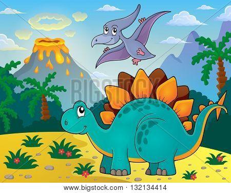 Dinosaur topic image 3 - eps10 vector illustration.