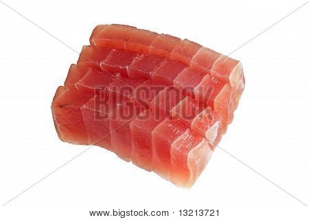 Slices of raw bluefin tuna used in sashimi isolated on white background poster