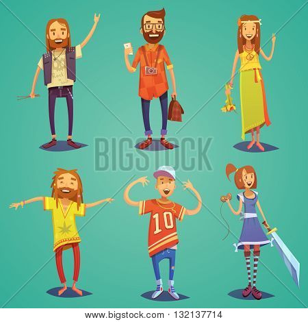 Subculture happy people figures collection dressed in hipsters style clothing with retro accessories abstract cartoon isolated illustration