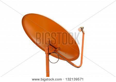 Orange Satellite dish clipping path Isolated on white background