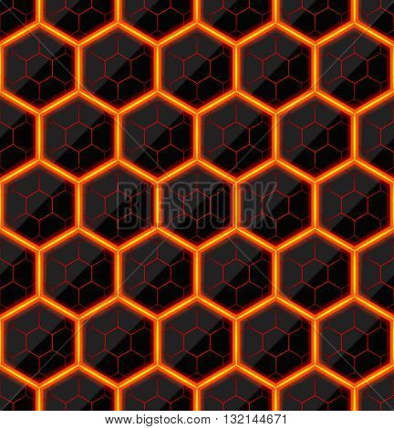 Hexagons of black stone with hot streaks of energy. Seamless vector texture. Technology seamless pattern.Vector geometric dark background.