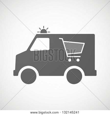 Isolated Ambulance Icon With A Shopping Cart