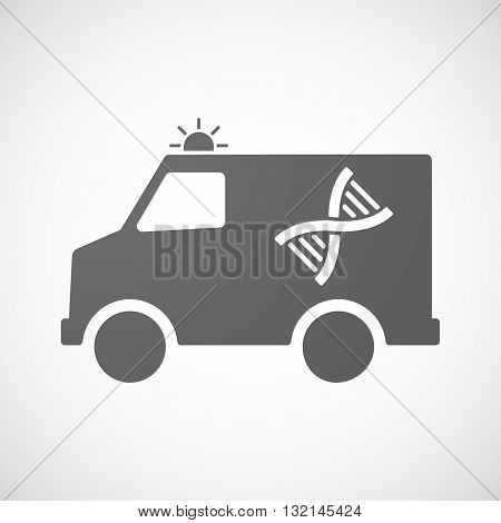 Isolated Ambulance Icon With A Dna Sign