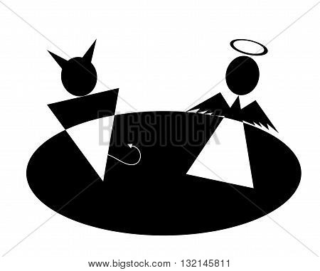 Pictogram Angel and Devil Icon Symbol Sign. Angel and Devil icons, minimal style, pictogram.  Love icon. Man and woman sign.