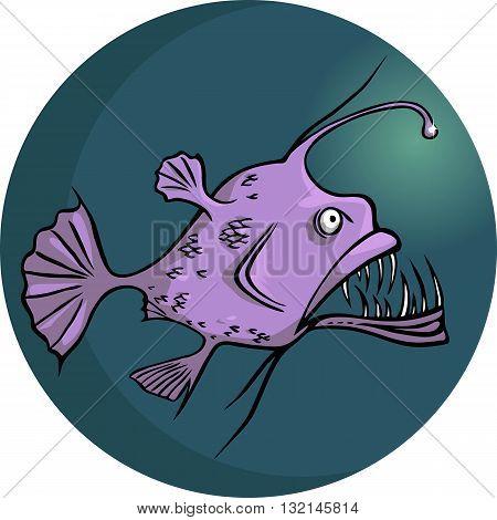Scary looking deep water ocean fish, vector illustration, no transparencies, EPS8