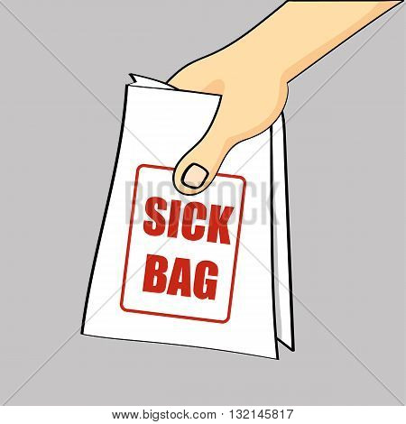 Hand holding out or passing over a sick bag for a case of nausea or air sickness