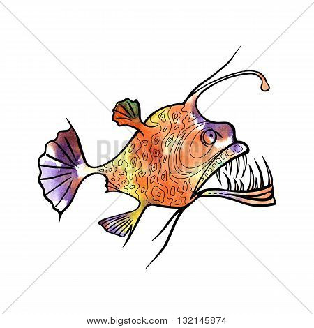 Angler fish design with watercolor fill, vector illustration