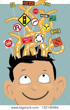 Attention Deficit. Tangled roads with confusing signs coming out of a boy's head