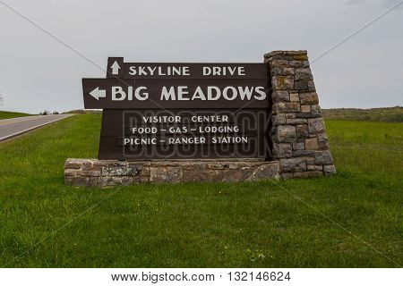 Luray United States: May 20 2016; Big Meadows Sign in Shenanodah National Park