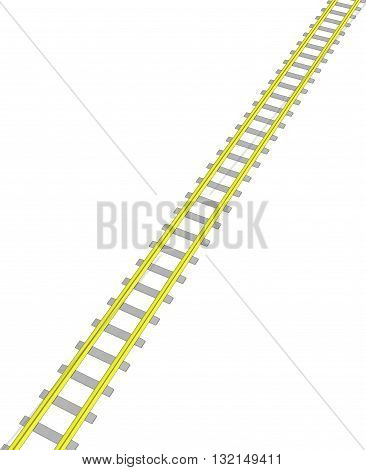 Vector image Yellow railway on white background