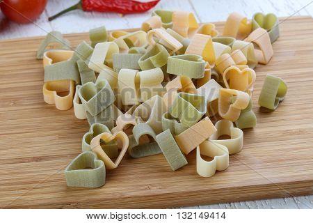 Raw Pasta Hearts Symbols