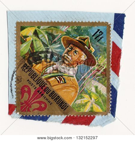 BURUNDI - CIRCA 1967: A stamp printed in Burundi dedicated to boy scouts shows Lord Baden-Powell